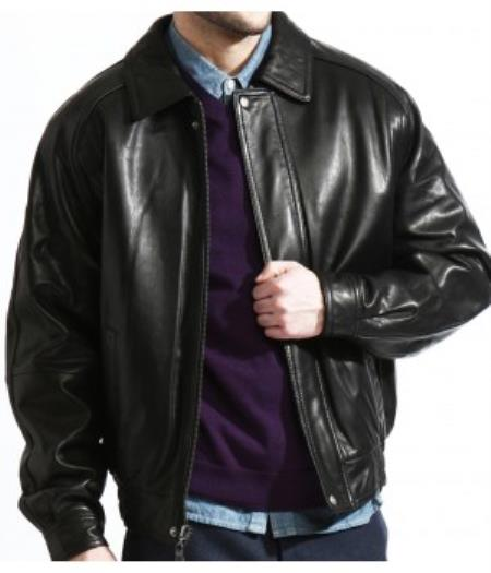 SKU#PN74 The Classic Baseball Leather Bomber Jacket In A Soft Lambskin Black