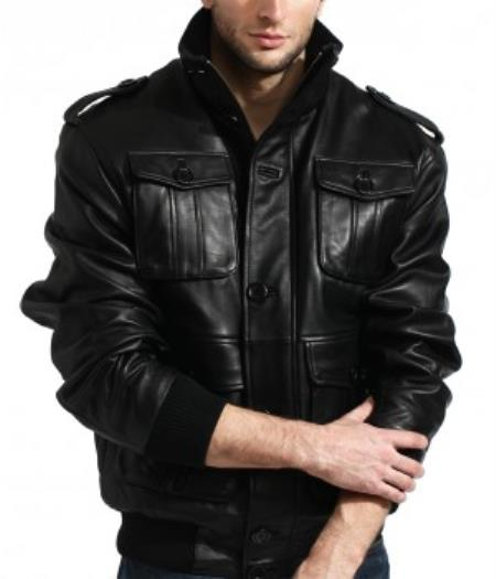 Men's Military Meets Safari In 100% Soft Authentic Lambskin Leather Big and Tall Bomber Jacket