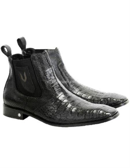Mens Black Vestigium Genuine Caiman Belly Chelsea Boots