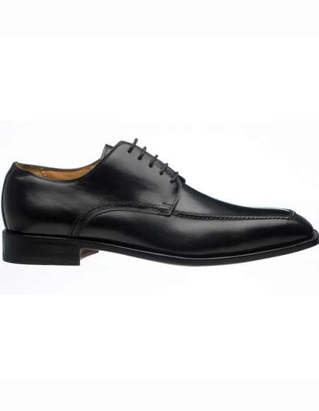 Ferrini Men's Italian Black French Calfskin Apron Toe Design Slip On Derby Shoes