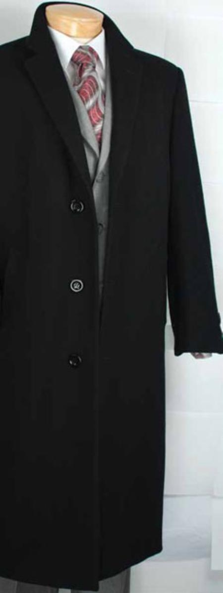 SKU#MR2940 Mens Black Cashmere Blended Top Coat