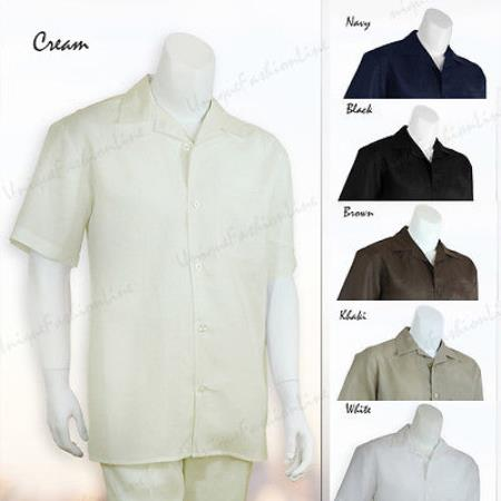 2 Pieces Mens Casual Solid Color Linen Shirt and Pants Set Casual Two Piece Walking Outfit For Sale Pant Sets suits casual two piece sets