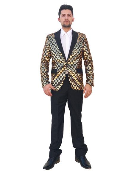Mens Shiny Sequin 2 Button Black Peak Lapel Gold Checked Pattern Blazer ~ Sport Coat