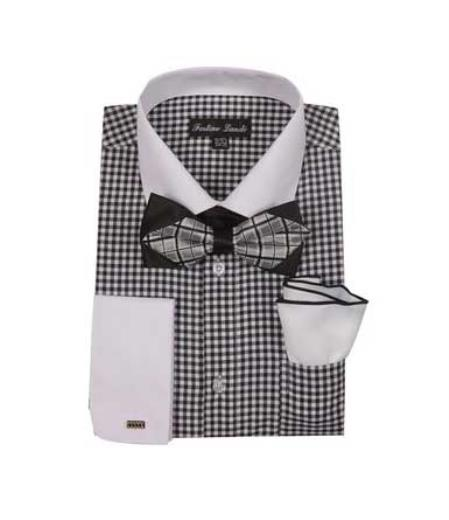Black Mens Checks Shirt French Cuff With White Collared Contrast  High Fashion Bowtie And Handkerchief White Collar Two Toned Contrast