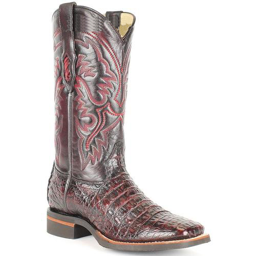 men's king exotic wide square toe black cherry genuine smooth caiman boots