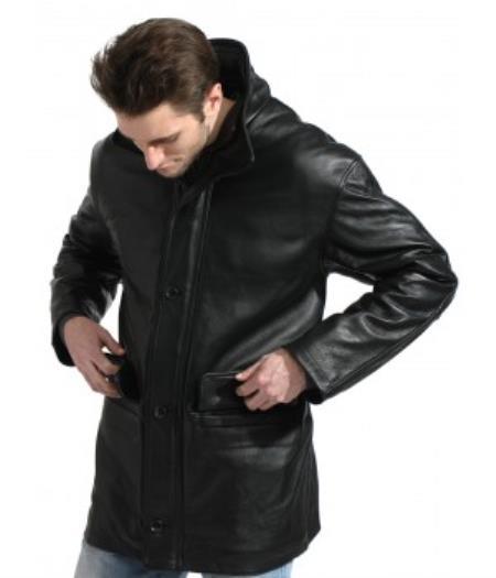Mens Black Pebble-grain Long Jacket Mens Carcoat ~ Designer Mens Wool Peacoat Sale