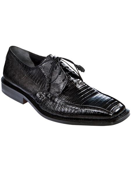 Mens Black Genuine Teju Lizard Los Altos Oxfords Style Dress Shoes