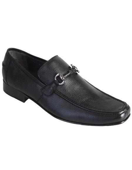 Mens Slip On Loafer Black Genuine Full Deer Skin Los Altos Dress Shoes