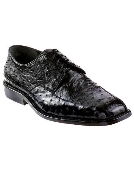 Mens Black Genuine Ostrich Los Altos Oxfords Style Dress Shoes