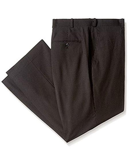 Mens Black Pinstripe ~ Stripe Flat Front Formal Dressy Pant - Cheap Priced Dress Slacks For Men On Sale