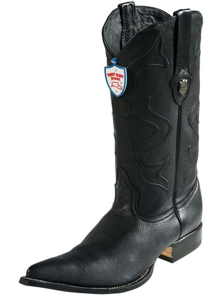 Mens Black Wild West Elk Leather 3x Toe Handmade Dress Cowboy Boot Cheap Priced For Sale Online With Replaceable Heel Cap
