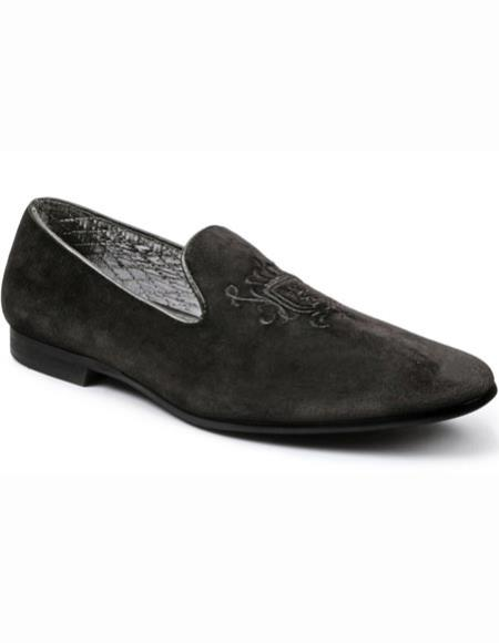 SKU#SM2720 Men's Smoking Slip On Tuxedo Formal Looking Black Embroider Loafers