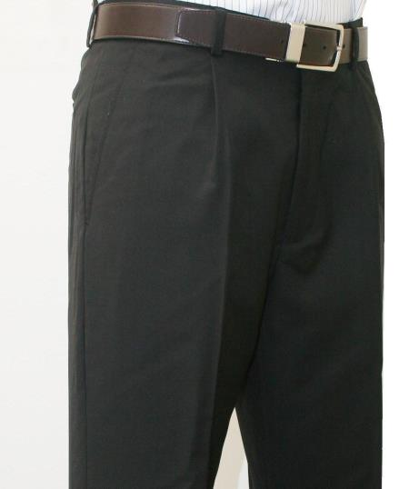 Roma-Veronesi 1 Pleated Pant 100% Wool 1/4 Top Pocket+2 Back Pockets with Lining Black unhemmed unfinished bottom