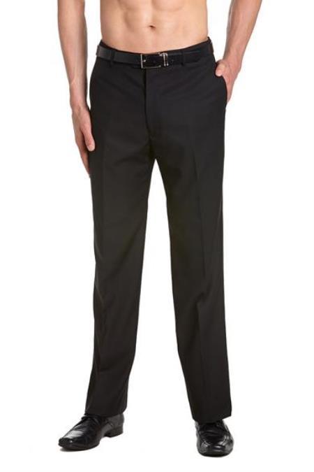 Mens Tuxedo Pants Flat Front with Satin Band Black