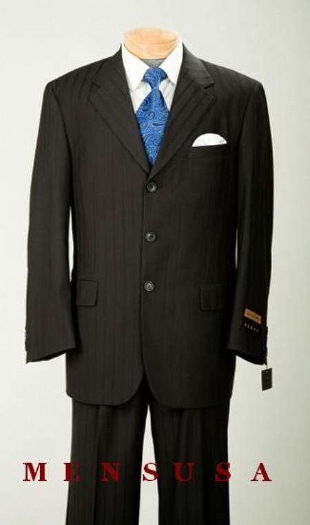 SKU#AG21 $1295 Nicest Jet Black On Black With Sheen tone on tone Shadow Pinstripe 2/3 Button Notch Lapel Side Vented