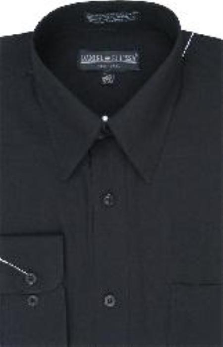 SKU#VB528 Mens Dress Shirt Black