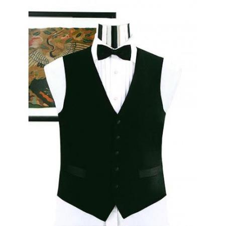 SKU#V752GA Simple Black Not Shiny Tuxedo Vest