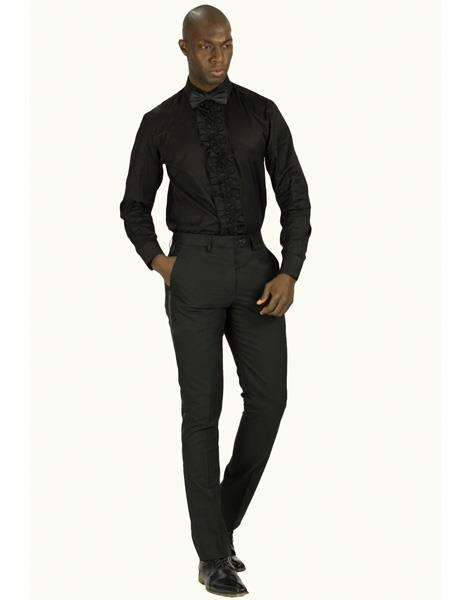 Mens Slim Fit Tuxedo Shirt With Ruffled Center, Removable Buttons  Also Available In Black