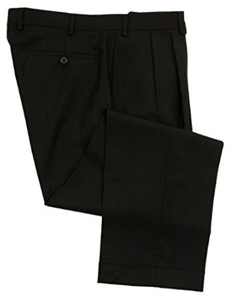 Ralph Lauren 100% Wool Double-Reverse Pleated Lined To The Knee Dress Pants Slacks Black unhemmed unfinished bottom