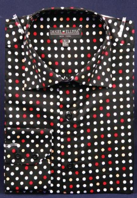 Dotted Fancy 100% Cotton Dress Fashion Shirt With Button Cuff Black / Red Men's Dress Shirt