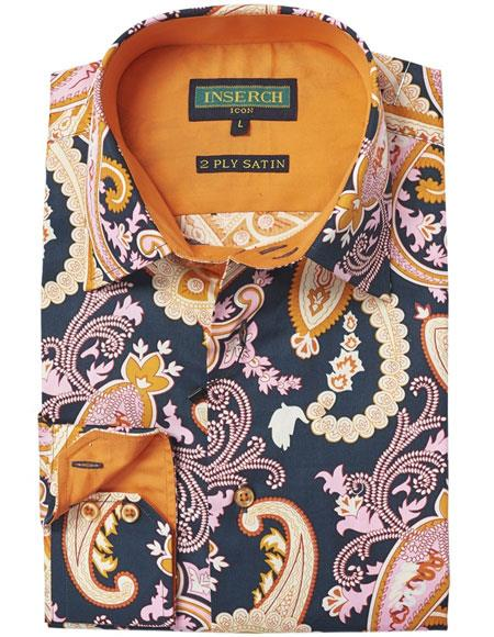 Buy AP311 Mens Cotton Floral Paisley Fashion Casual Patterned Contrast Trimming Black Shirt