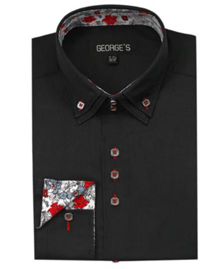 Mens Black 60% Cotton 40% POLY Shirt Solid Color Double Collar