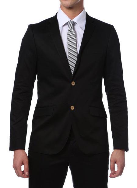 Suit Mens Black Cotton