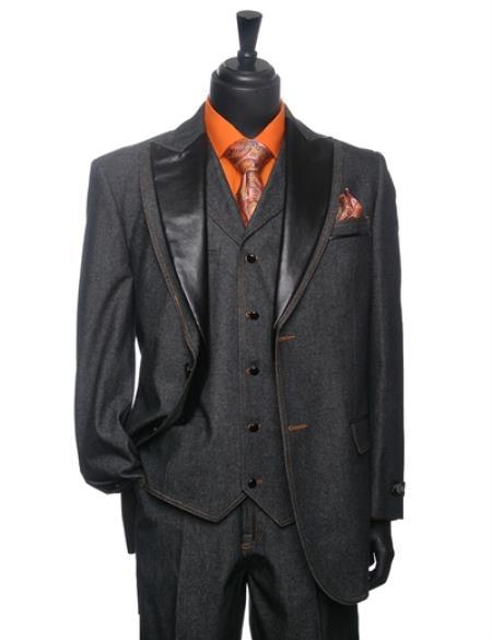 Men's Black Denim Tuxedo 3 Piece Suit