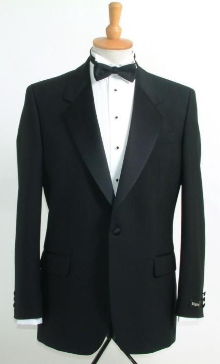 SKU# EHQ859 Mens Black Designer Tuxedo Double Breasted Notch Tuxedo Super 100s Wool Italian $295