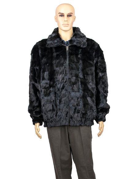 Mens Fur Black Diamond Mink Collar Pull Up Zipper Jacket