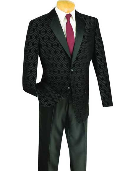 New Vintage Tuxedos, Tailcoats, Morning Suits, Dinner Jackets Mens Shawl Lapel Plaid  Windowpane Dinner Blazer  Sportcoat Jacket Black $110.00 AT vintagedancer.com