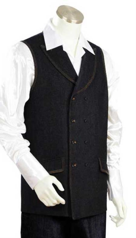 Mens Denim Double Breasted Vest and Wide Leg Pant Set