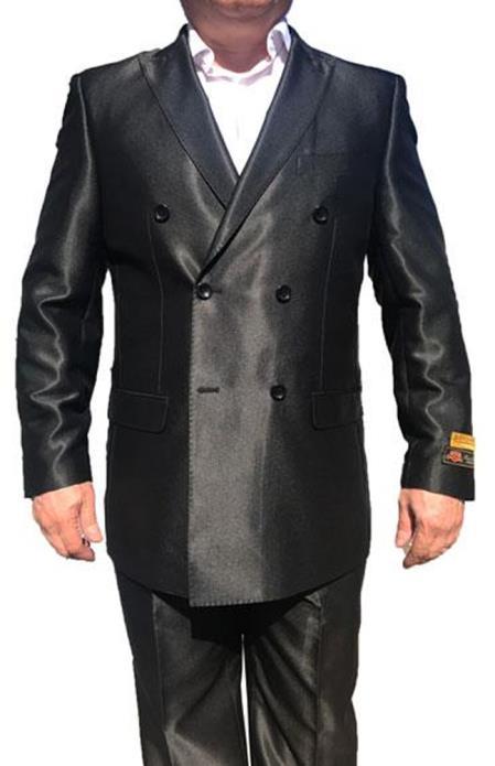 Black Color Double Breasted Shiny Pleated Pants Tuxedo ~ Alberto Nardoni Peak Lapel Sharkskin Flashy Silky Suits Advanced Pre Order To Ship November / 15 / 2019