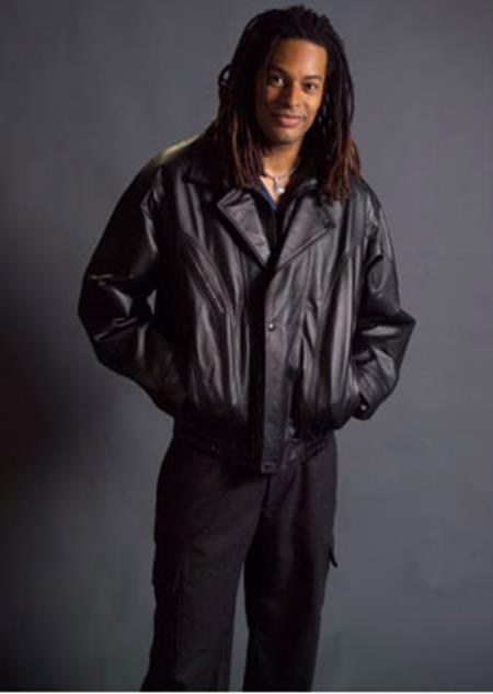 Men's Double Collar with Removable Liner Black Big and Tall Bomber Jacket