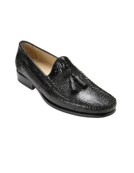 Authentic Genuine Skin Italian Mens Black Genuine caiman ~ World Best Alligator ~ Gator Skin & Ostrich Slip On ~ Stylish Dress Loafer