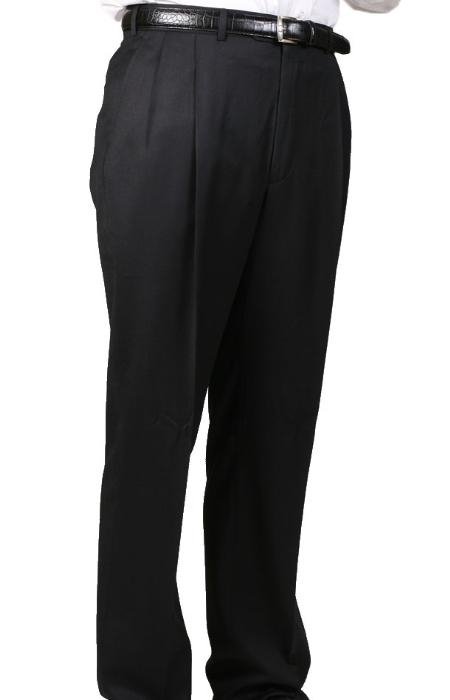 Mens Dacron Polyester Black Somerset Double-Pleated Slacks / Dress Pants Trouser
