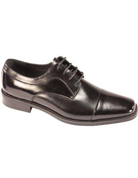 Men's Lace Up Cap Toe Dress Oxfords Black  - Cheap Priced Men's Discounted black dress shoes