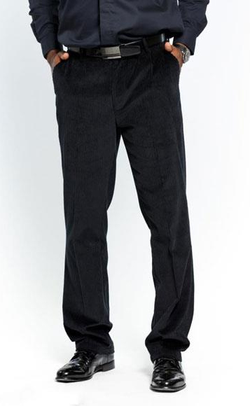 Men's Stylish Flat Front Corduroy Formal Black Dressy Pant