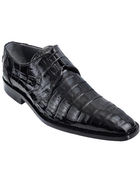 Mens Genuine Caiman Belly Oxfords Style Black Los Altos Dress Shoes