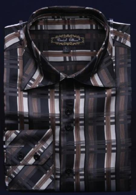 Fancy Polyester Dress Fashion Shirt With Button Cuff Black Men's Dress Shirt Night Club Outfit guys Wear For Men Clothing Fashion