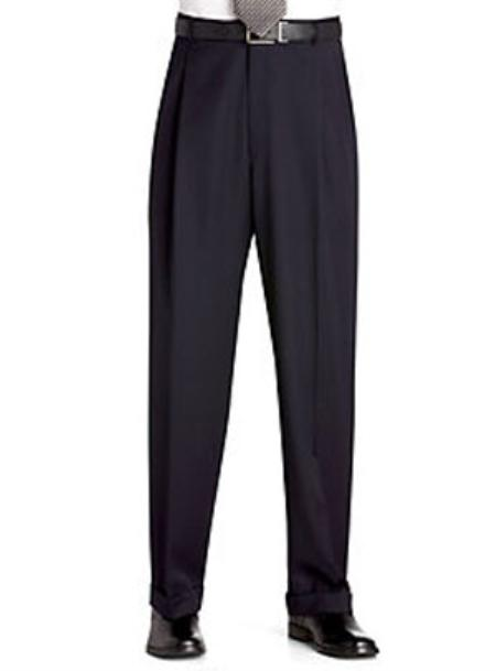 Flat Front Regular Rise Slacks Black