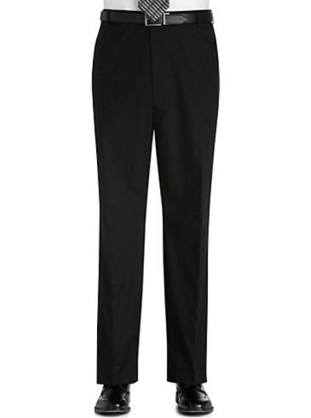 Flat Front Regular Rise Black Slacks