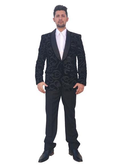Mens Royal Blue Shiny Sequin 2 Button Cheap Priced Casual Blazer