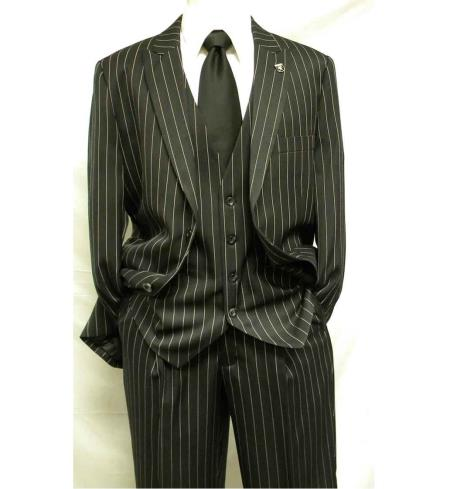 1930s Men's Clothing 3 Piece Gangster Stripe Mars Vested Fashion Suit Black $160.00 AT vintagedancer.com