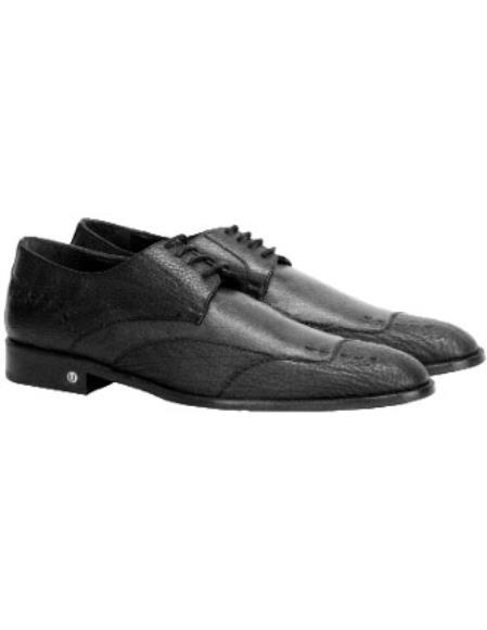 Vestigium  Men's Black Genuine Sharkskin Derby Shoes