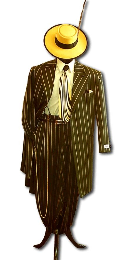 SKU# ZTPT179 Mens Black & Gold Pinstripe Dress 5 Button Fashion Zoot Suit