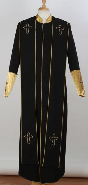 Men's Big & Tall Mandarin Collar Black/Gold Church Cross Accent Robe With Stole Suits