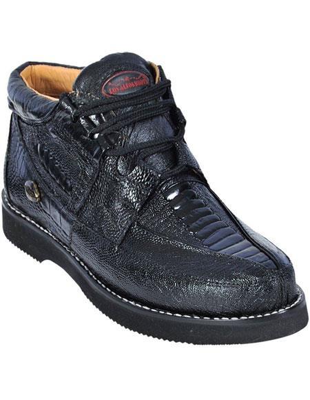 Mens Lace Up Genuine Ostrich Leg Black Los Altos Shoes
