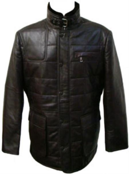 Mens Black Quilted Lamb Leather Jacket Big and Tall Bomber Jacket