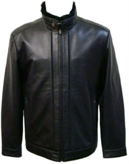 Mens Black Lamb Leather Removable Faux Fur-Lined Collar Big and Tall Bomber Jacket